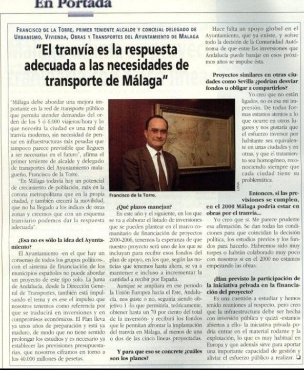 No hace tanto, 1998, De la Torre prefería el tranvía. Hoy, la insostenible e inviable demagogia.