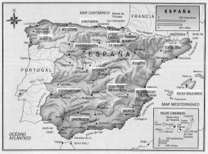 Mapa de España con el recuadrito de Canarias