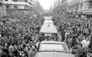 Manifestación de acompañamiento a los asesinados abogados laboralistas del despacho de Atocha.
