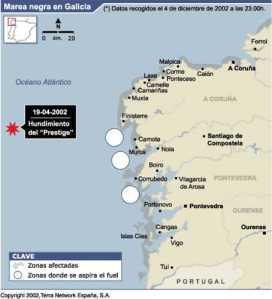 Mientras Piqué hablaba en el Senado de irrelevante la afección ocasionada por el Prestige, gran parte de las costas gallegas estaban inundadas de chapapote.