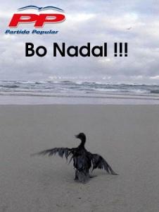 Postal con la que muchos gallegos se felicitaron en aquellas Navidades negras y que sirvió de denuncia de la gestión del PP