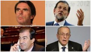 """Responsables políticos de la nefasta gestión sobre el """"Prestige"""": José María Aznar, Mariano Rajoy, Francisco Álvarez Cascos y Manuel Fraga."""