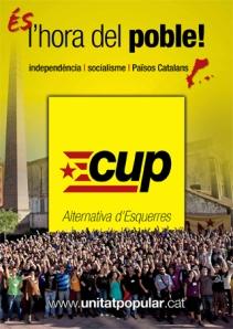"""Candidatura de Unidad popular, asamblearia, antilíderes, antipartidos, izquierdista e independentista de """"los països catalans"""", o sea Cataluña con Valencia y Baleares"""