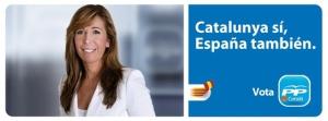 Una Alicia Sanchez Camacho, retocada también labialmente en el cartel, con sus peperos y clásicos eslóganes de campaña