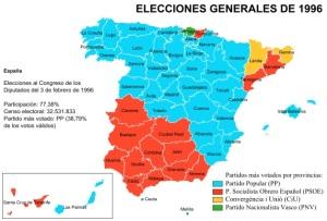 Mapa electoral, tras las elecciones generales de 1996