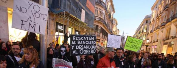 Pancarta en la manifestación de Málaga