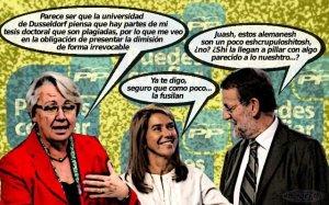 Rajoy y Mato que no dimiten con la ministra de Educación alemana dimitida
