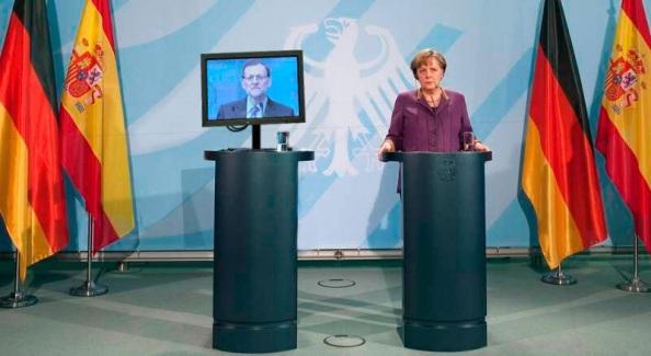 Rueda de prensa de Merkel y el plasma de Rajoy