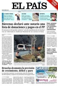 Portada del diario El País, 22.02.2013