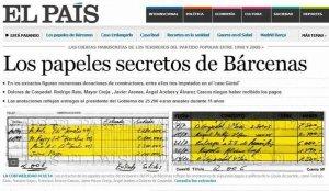 """Pagos en """"B"""" de Bárceas a la cúpula del PP, destapado por el diario El País."""