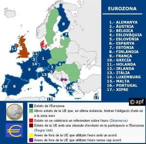 Mapa de la Eurozona y paises de la UE