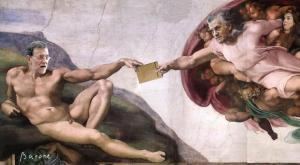 Rajoy y Bárcenas en el mural de la capilla sixtina de Génova