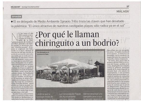 """Su publicación en el diario """"Málaga Hoy"""""""