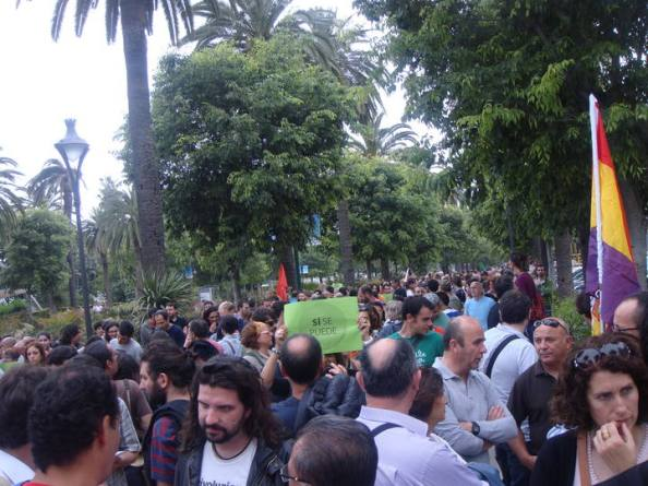 En el Parque de Málaga, antes de empezar la manifestación