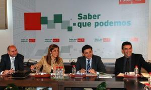 Francisco Conejo, secretario de Comunicación; Susana Díaz, de Organización; Rafael Velasco, vicesecretario, y Mario Jiménez
