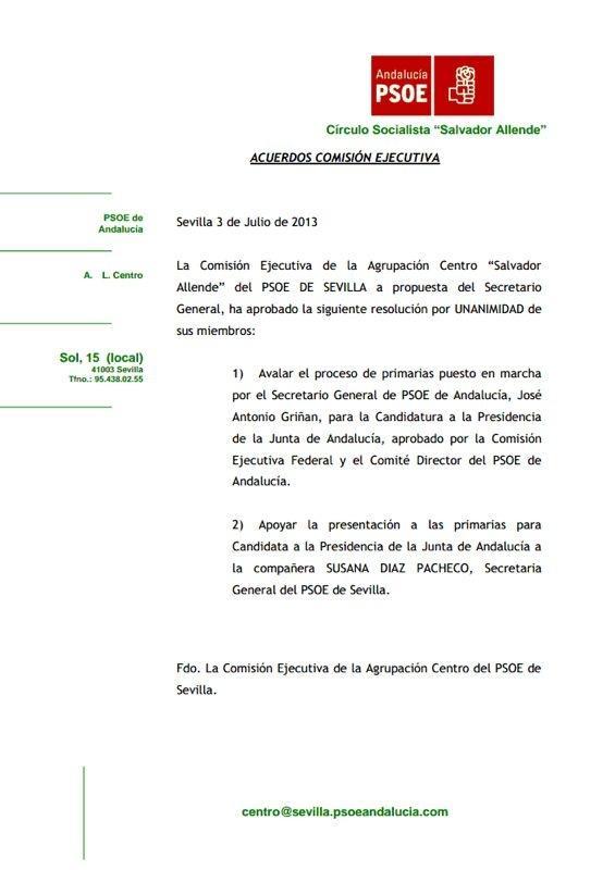 La no práctica democrática de algunos dirigentillos de Agrupaciones del PSOE-A les lleva pronto a sustituir el voto individual y secreto de cada militante por el de la ahesión inquebrantable, quebrando derechos fundamentales.