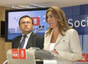 Susana Díaz y MA Heredia, secretario general del PSOE de Málaga.
