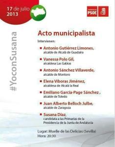 Mitin del cierre de campaña de Susana Díaz, aunque llaman acto municipalista
