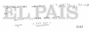 Puño y letra de Pedro Arriola, separando lo cobrado en negro del otro a declarar