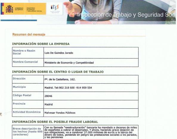Mi denuncia contra Luis de Guindos