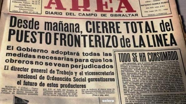 gibraltar cierre de la verja edición del 8 de julio 1969