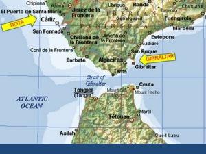 Las dos bases intregadas en la estructura de La OTAN, Gibraltar (bajo soberanía de Gran Bretaña) y Rota (bajo española) Enfrente Ceuta, sin paragua alguno de la Alianza Atlántica.