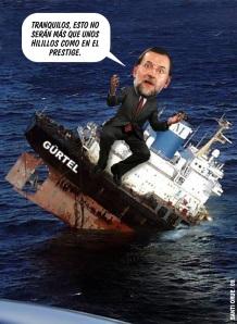 Negó el Prestige, el Gürtel como ahora la contabilidad de Bárcenas. Además, ea gestión de la crisis Prestige significó la puesta a la luz de la inutilidad de Rajoy. Casi once años después, todavía no se ha enterado de qué administración son competentes las aguas marinas más allá de las de baños, así como el órgano que las vigila y controla.