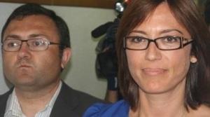MA Heredia, secretario general del PSOE de Málaga, junto a María Gámez en la noche fúnebre del 22.05.2011, donde había pasado de 12 a 9 ediles
