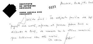 manuscrito supuestamente Pedro Arriola comunica a Bácenas