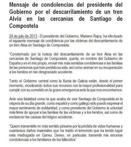Imperdonable comunicado de corte y pega desde Moncloa, donde se confunden a las víctimas del tren Alvia con los del terremoto chino de Gunsu.