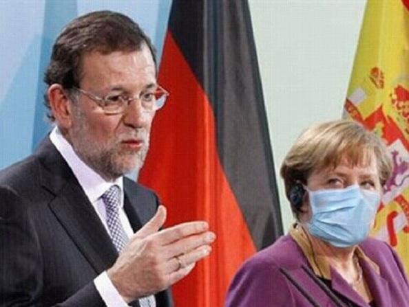 Rajoy Merkel Máscara