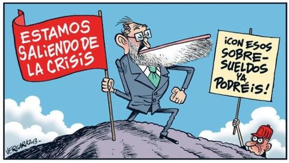 """Dijo Rajoy: """"Estamos a punto de salir de la recesión.. En el último trinestre el PIB cayó un 0,1%. Pero mintió al no decir que la caída inteanual ha sido de -1,7% del PIB, frente a la del mismo periodo al 2012 que fue de -1,4% del PIB y la del 2011, con el anterior Gobierno de ZP que fue de +0,5% del PIB"""