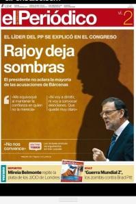 """Elocuente portada de """"El Periódico"""", el día siguiente a su intervención en el Pleno del Congreso."""