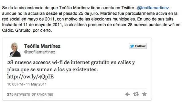 Teófila se olvida de su campaña de las municipales 2011 a cuenta del Wi Fi gratuito