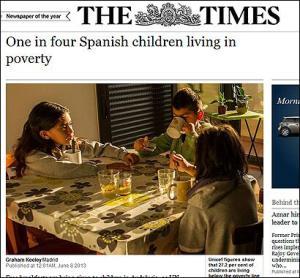 """Uno de cuatro de nuestra infancia, padece desnutrición. Lo denuncia también el diario """"The Times""""."""