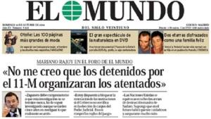 La instrumentalización de ETA para hacer política en la oposición por el PP. Portada de El Mundo de 03.10.2004, siete meses después de los detenidos por el atentado de los trenes del 11M