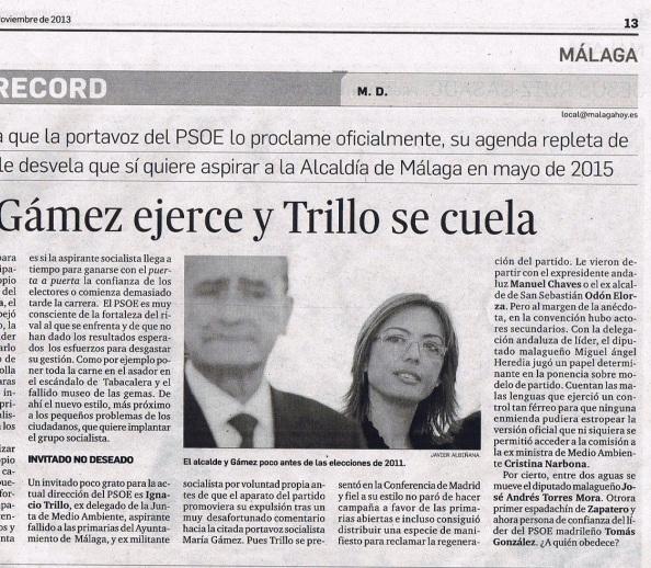 """También la prensa de Málaga me """"pilló"""" mi presencia en la Conferencia del PSOE en Madrid."""