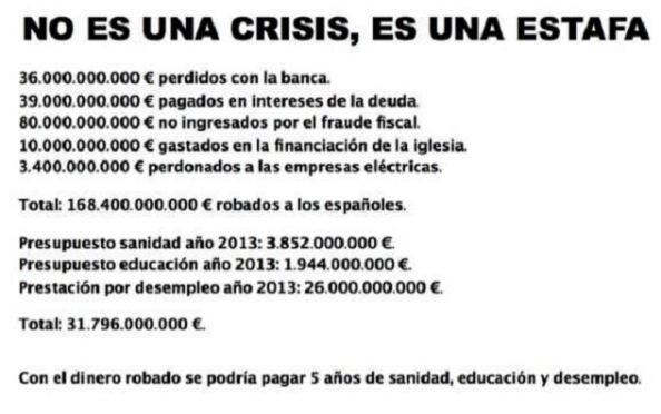 Y es que a lo que le llaman crisis sigue siendo una estafa