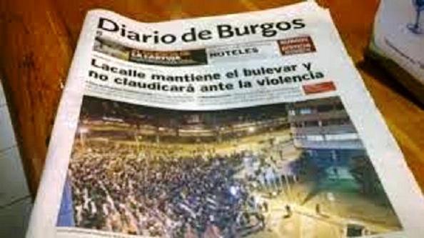 """El """"diario de Burgos"""" de Méndez Pozo, conminando al alcalde del PP Lacalle, a que continúe con la obra que tiene asimismo adjudicada"""