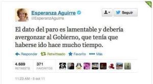 Lo que decía Esperanza Aguirre sobre el paro el 05.10.2011
