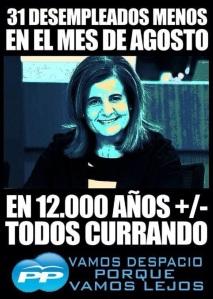 La ministra Báñez sobre el paro en el mes de agosto que adelantara triundamente María Dolores de Cospedal