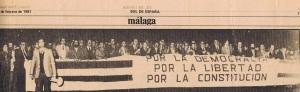 Cabecera de la manifestación del 23F en Málaga