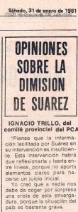 Mi opinión sobre la dimisión de Adolfo Suárez
