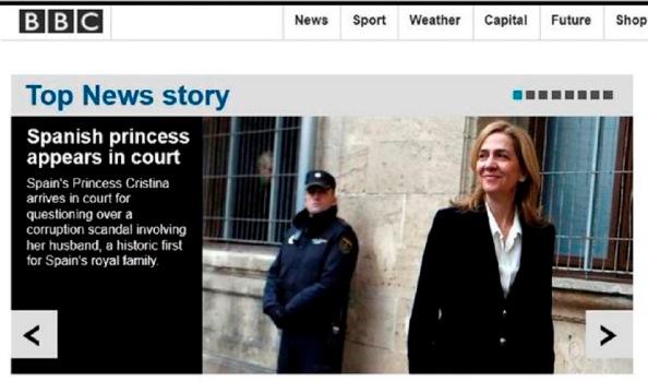 """""""Princesa española citada por un Tribunal"""", también la BBC británica."""