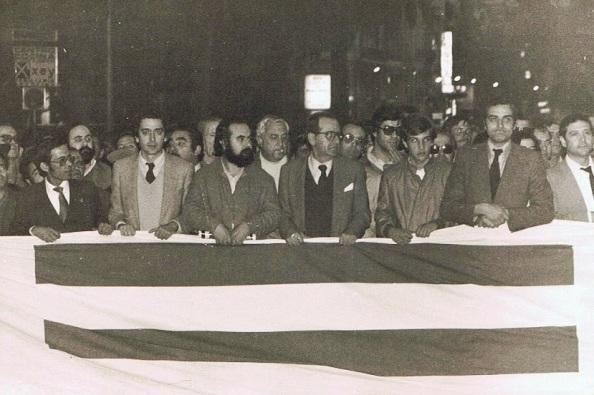 Parte de la cabecera de la manifestación contra el Golpe, de izquierda a derecha, Gerardo, José Asenjo, Ignacio Trillo