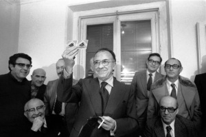 La dirección del PCE, celebrando una rueda de prensa clandestina, ya en diciembre de 1976