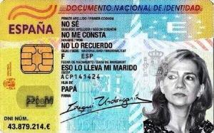El DNI de la Infanta Cristina de Borbón.