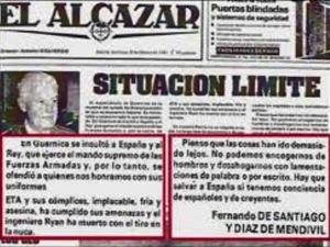 """El diario portavoz de los golpistas, """"El Alcázar""""."""