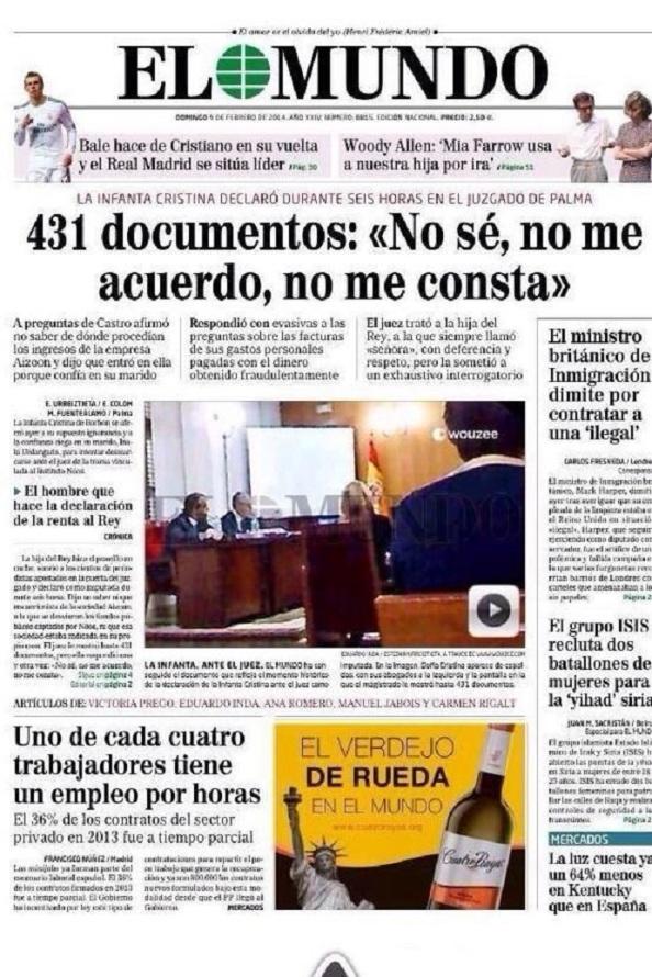 El diario El Mundo no disimula en su portada el pitorreo que ha significado la declaración de la Infanta.