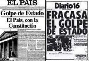 Primeras ediciones de El País y Diario 16 salieron a la calle